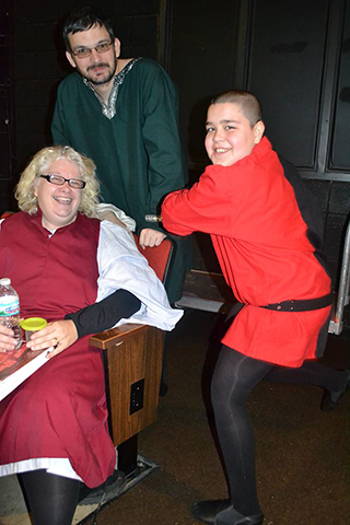 Pamela Beish (Deaf Servant), Kurt Cullison (Deaf Prince) laughing with Beish's son, Aiden Scott (Townsperson).