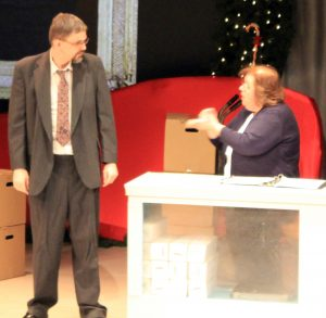 Kurt Cullison (as Ebenezer Scrooge) and Beth Myers (as Barb Crachler)