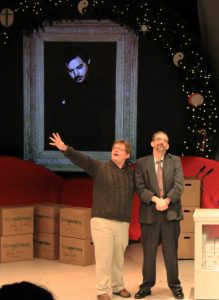 Eric Kildow seeking a donation for Kent Trumbull Theatre from Scrooge (Kurt Cullison)